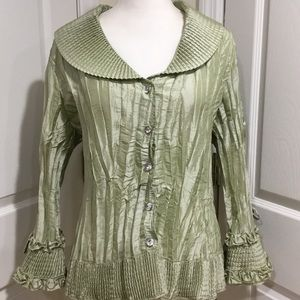 Agora Sage Green Pleated Ruffle Blouse Top